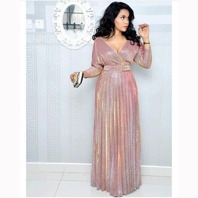 Colorful stamping pleated mid-sleeve V neck commuter large size long women sexy elegant dress with belt