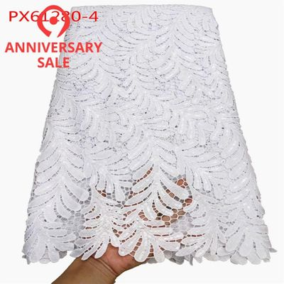 Wholesale good quality water soluble White cotton guipure lace fabric 5 yards Nigeria lagos lace style