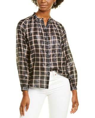 Rebecca Taylor Lame Plaid Top