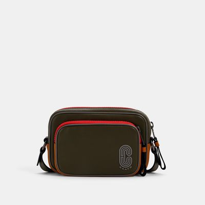 COACH Mini Edge Double Pouch Crossbody In Colorblock With Coach Patch