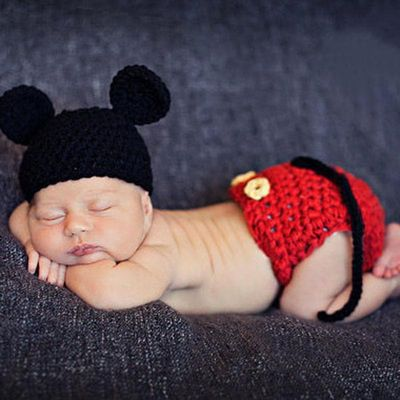 Baby Knitted Photo Props Infant Handmade Cotton Costume Newborn Photography Props Infant 100 days Costume Pants and Hats