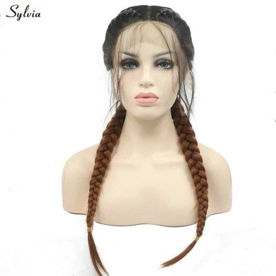 Sylvia Dark Roots Ombre Brown Double Braids Synthetic Lace Front Wigs With Baby Hair Long Braided 2T Wig For Women Replacement