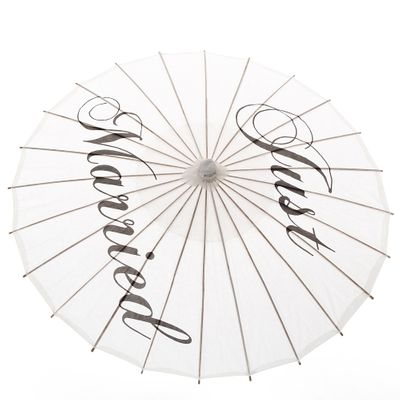 Ameliebridal Handmade Just Married Painted Paper Parasol Wedding Photographs Prop Bride Party Decoration Sun Paper Umbrella