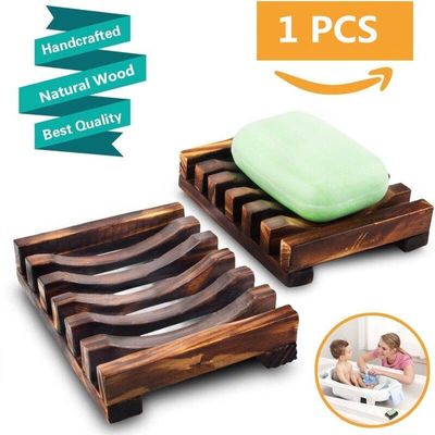 New Arrival Fashion Natural Wood Wooden Soap Dish Storage Tray Holder Bath Shower Plate Bathroom