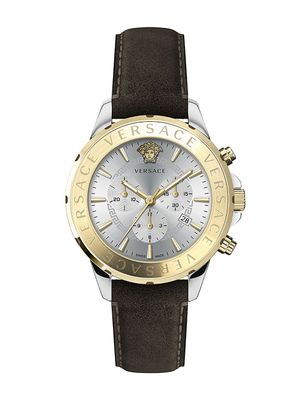 Versace Chrono Signature Two-Tone Stainless Steel Leather-Strap Watch