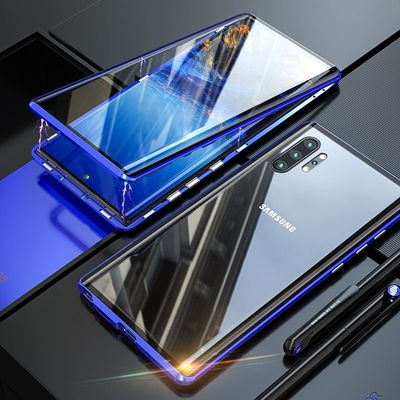 360 Full Body Magnetic Tempered Glass Case For Samsung Note 10 S10 S9 Plus Note 9 Case Metal Bumper Shockproof Protective Shell
