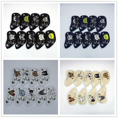 dully na cat Golf Irons Headcovers PU Leather Golf Iron Set Covers #4-9PAS 4 Colors For Man Women