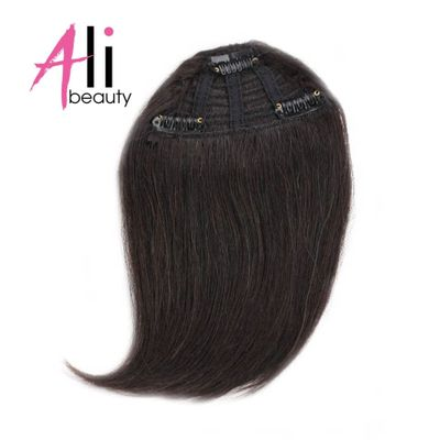 ALI BEAUTY Human Hair Bangs Clip In Hair Extensions Machine Made Remy Hair Fringe Gradient Bangs Hairpiece 10 Colors Can Be Dyed