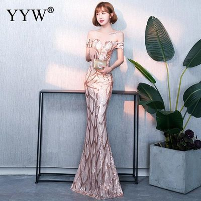 Gold Sequin Floral Evening Long Party Dress Women Sexy Off Shoulder Mermaid Dress Ladies Slim Bodycon Elegant Formal Gowns 2020