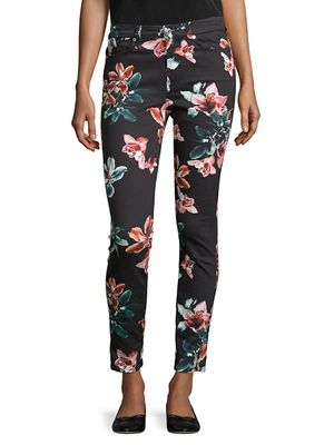 7 For All Mankind Floral Ankle Cropped Skinny Jeans