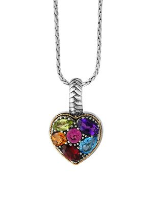 Effy 18K Yellow Gold, Sterling Silver & Multi-Stone Heart Pendant Necklace