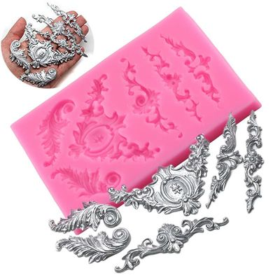 Scrolls Baroque Feather Crown Corner Silicone Mold Cake Tooper Decoration Fondant Molds Chocolate Candy Polymer Clay Moulds