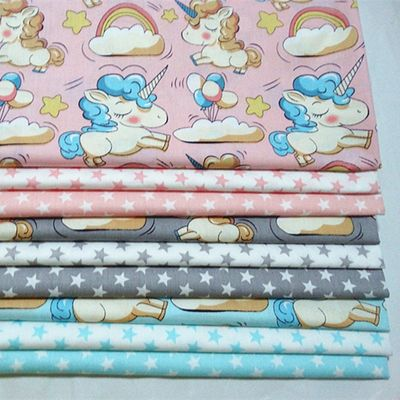 160*100cm Cotton fabric Printed Unicorn Star Baby Girl Cotton Quilting Twill Cloth for DIY sewing patchwork cloth sheet fabric