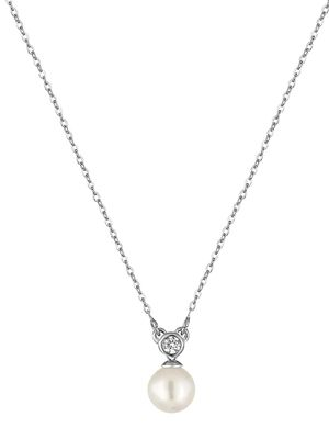 Majorica 8MM White Round Pearl & Crystal Pendant Necklace