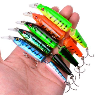 1pcs Minnow Fishing Lure 105mm 9g Multi Jointed Section Bend Hard Bait Wobbler Swimbait Lures Carp Fishing Tackle Pesca 8 Colors