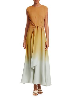 Lafayette 148 New York Winslet Prism Ombr Tie-Front Maxi Dress
