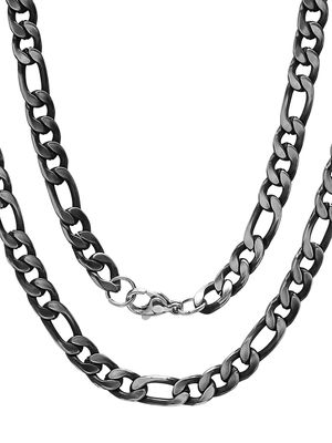 Anthony Jacobs Black IP Stainless Steel Figaro-Link Necklace