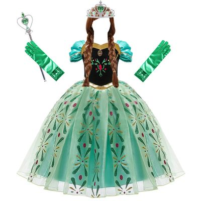 Anna Dress for Girls Cosplay Snow Queen Princess Costume Kids Summer Clothes Children Birthday Carnival Fancy  Disguise and Wig