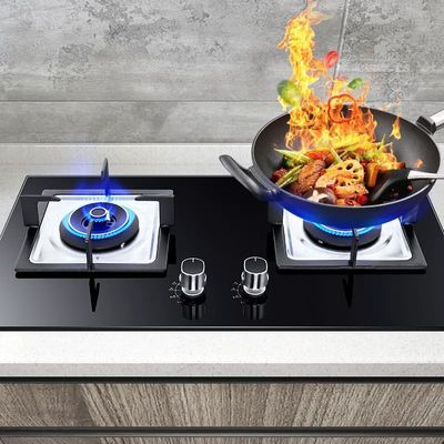 Factory Direct Sale 4.2kw Gas Stove Dual-cooker 2 Pots Table Embedded Liquefied Natural Gas Copper Cover Bulit-in Gas Hobs Oven