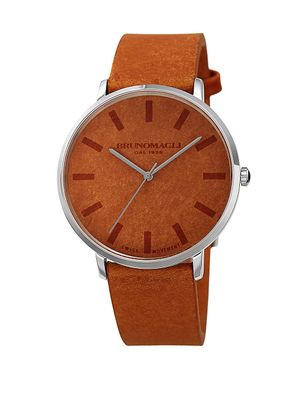 Bruno Magli Roma Stainless Steel Analog Leather Strap Watch