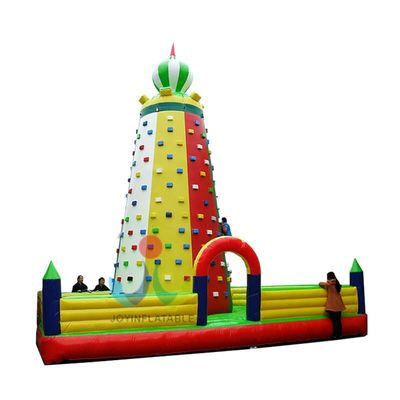 Outdoor commercial use large inflatable climbing wall with inflatable mat for amusement park for sale