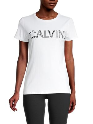 Calvin Klein Performance Logo Stretch-Cotton Tee