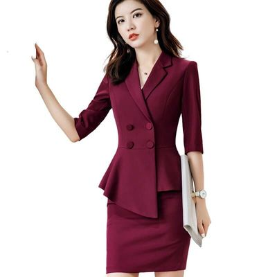 Woman Skirt Suit Suits, Fashion, New Business Office Handles Formal Blazer And Skirt, Half Woman Interview Work Wear