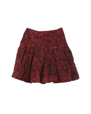 Oscar de la Renta Jacquard Pleated Silk-Blend Skirt