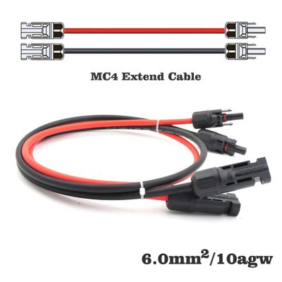 1pair X 10m 5m 3m 2m 1m 6mm2 10AWG PV Connector Extension Connect branch black parallel Series 1 meter extend cable