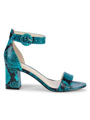 Marc Fisher LTD Snakeskin-Print Leather Ankle-Strap Sandals