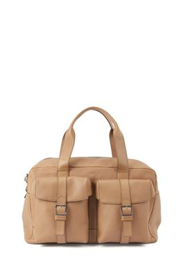 HUGO BOSS - Calf Leather Holdall With Twin Front Pockets