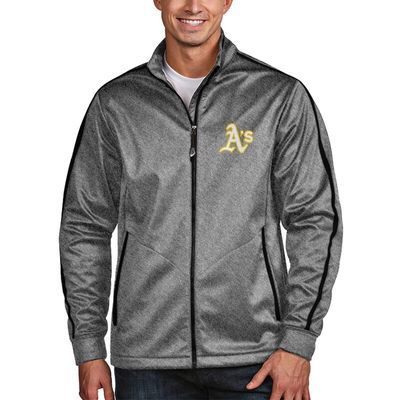 Oakland Athletics Antigua Golf Full-Zip Jacket - Heather Black