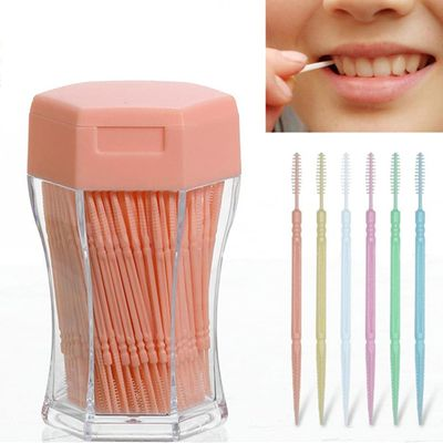 200pcs/set 6.2 cm Soft Plastic Candy Color double-head Brushed Interdental Toothpick Eco-Friendly Oral Care Hot Sale