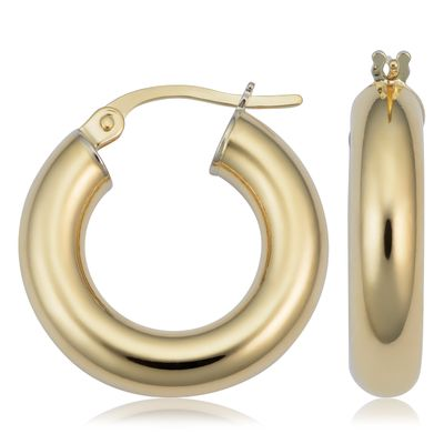 14k Yellow Gold Thick Polished Hoop Earrings (4x15 mm)