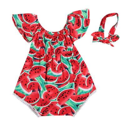 2019 Baby girl summer clothing Watermelon Romper Jumpsuit Headband Outfit for Kid clothes toddler Children newborn Baby Clothes