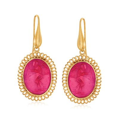Ross-Simons Italian Red Venetian Glass Intaglio and Mother-Of-Pearl Drop Earrings in 18kt Gold Over Sterling