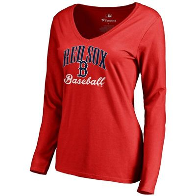 Boston Red Sox Women's Victory Script Long Sleeve T-Shirt - Red
