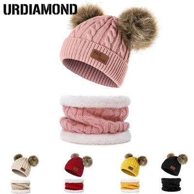 URDIAMOND Winter Hat For Girls Baby Boys Pom Poms Hat Children Knitted Beanies Thick Baby Hat Infant Toddler Warm Cap