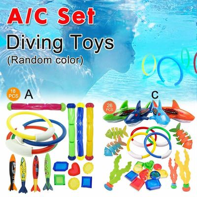 18/26 PCS Summer Playing Swimming Pool Throwing Diving Toys Underwater Rings Diving Circle Set Multicolor Game Beach Toy
