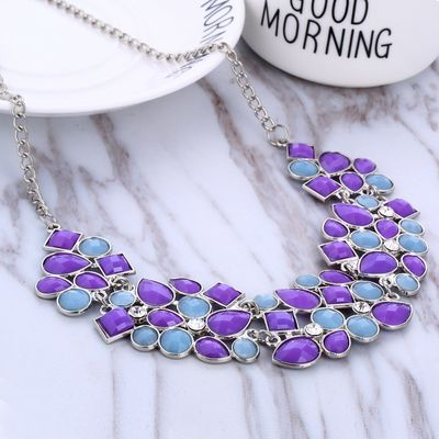 Christmas Gift Multicolor Beads Necklace Women Geometric Mosaic Stones Wild Fashion Resin Necklace for Women Chocker Necklace