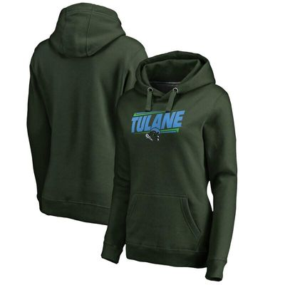 Tulane Green Wave Women's Double Bar Pullover Hoodie - Green