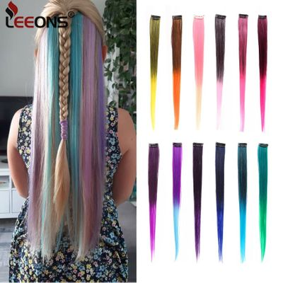 Leeons Colored Highlight Synthetic Hair Extensions Clip In One Piece Color Strips 20