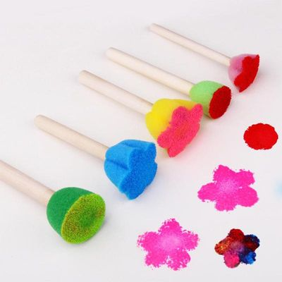 5pcs/set DIY Wooden Sponge Graffiti Painting Brushes for Kids Manual Drawing Toys Student Stationery School Office Supplies