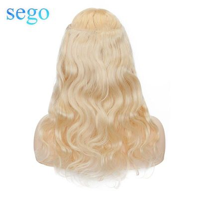 SEGO 60g-75g 16-22inch Body Wave Wire in Hair Extension Real Human Hair Halo Hair Extension Non-Remy Invisible Crown Hairpiece
