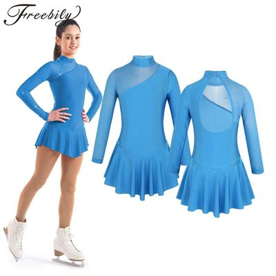 Teen Girls ballroom dance competition dresses Tulle Splice Cutouts Back Skating Modern Dance Dress for Kids stage dance costumes