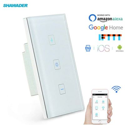 Smart WiFi Dimmer Light Switch Glass Touch Panel Wireless Remote Timing Function Control work with Alexa Google Home Assistant