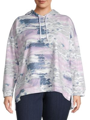 MARC NEW YORK PERFORMANCE, Plus Size Plus Printed High-Low Cotton Hoodie