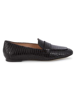 Stuart Weitzman Payson Croc-Embossed Leather Loafers