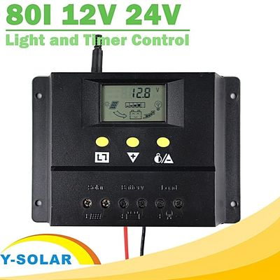80A Solar Charge Controller 12V 24V LCD PWM PV Charger With Max 50V 1920W Solar Panel Light And Timer Control Y-SOLAR 80I