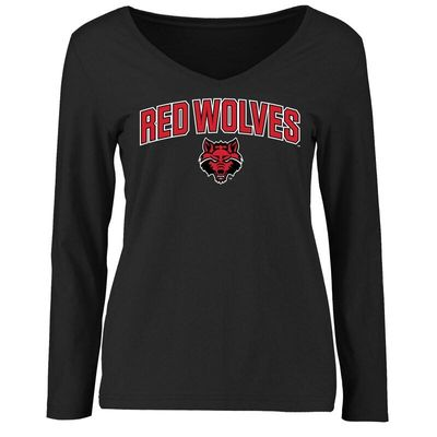 Arkansas State Red Wolves Women's Proud Mascot Long Sleeve T-Shirt - Black